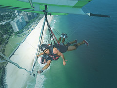 parachuting(0.0), adventure(1.0), parachute(1.0), air sports(1.0), sports(1.0), recreation(1.0), outdoor recreation(1.0), windsports(1.0), hang gliding(1.0), gliding(1.0), extreme sport(1.0),