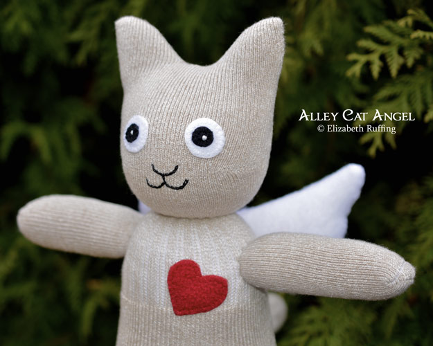 Alley Cat Angel Sock Kitten Art Toys by Elizabeth Ruffing, light tan tweed, red fleece heart
