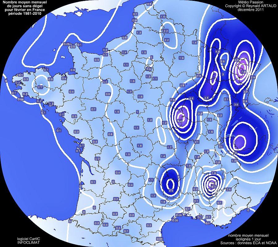 nombre moyen mensuel de jours sans dégel ou avec gel permanent au mois de février en France pour la période 1981-2010