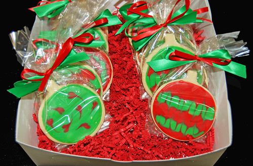 Christmas ornament glace sugar cookies
