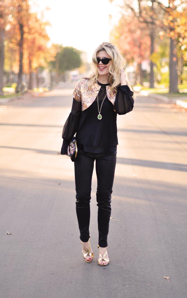 black and gold - gold brocade bolero -gold gucci heels