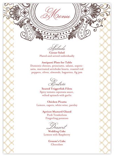 Vintage Garden Printable 5x7 Wedding Menu printable wedding menu