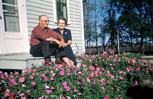 Frank and Clara Fowlie with flowers