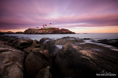 ocean york sunset sea lighthouse seascape clouds landscape island nikon rocks long exposure maine sigma atlantic moe cape 1020mm chen neddick nubble d7000