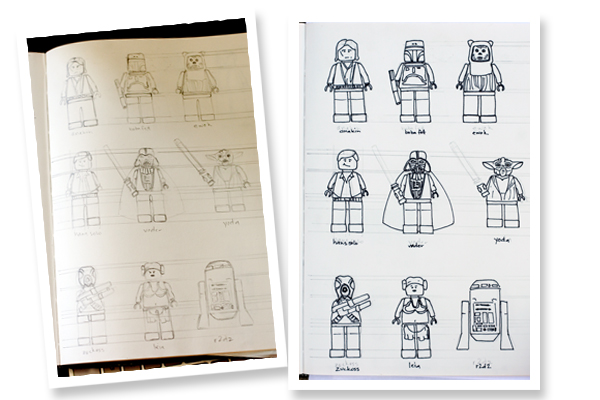 Hand Drawn Lego Star Wars Characters