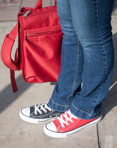 Bicolored Converse + Red Backpack