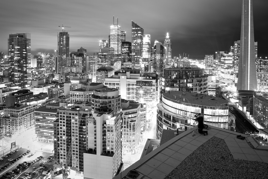 black and white rooftopping image from a downtown toronto condo
