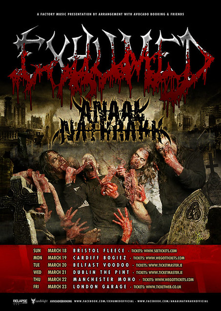 Exhumed UK tour 2012 anaal nathrakh March gig listings metalgigs