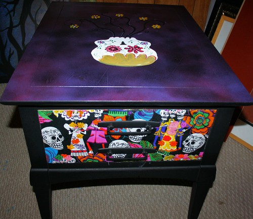 Sugar Skull Table/Nightstand   by Rick Cheadle Art and Designs