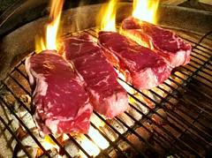 kobe beef(0.0), cuisine(0.0), steak(1.0), roasting(1.0), grilling(1.0), barbecue(1.0), yakiniku(1.0), red meat(1.0), samgyeopsal(1.0), churrasco food(1.0), food(1.0), boston butt(1.0), dish(1.0), flesh(1.0), barbecue grill(1.0), cooking(1.0), lamb and mutton(1.0),