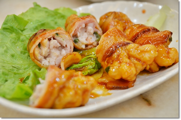 Ham Wrapped Prawn Rolls with Sweet & Sour Sauce