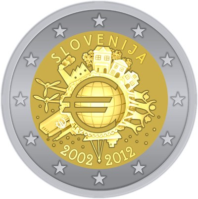 2 Euro Slovinsko 2012, 10. výročie zavedenia Eura