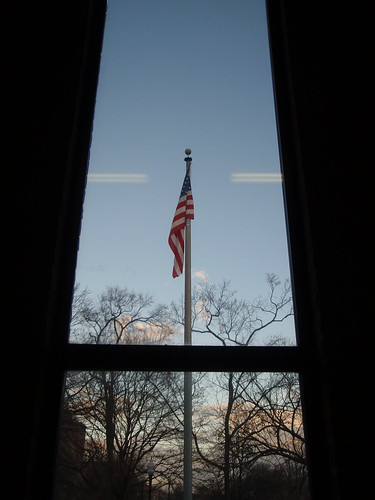 flag, from the stairwell