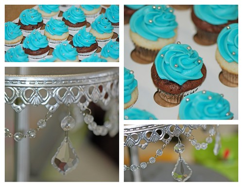 Tiffany Blue and Silver Mini Cupcakes for a Bridal Shower