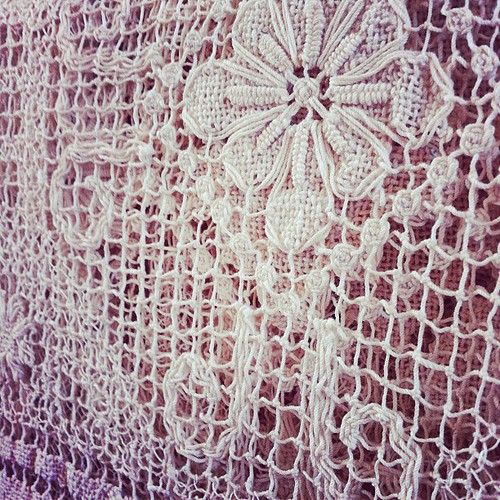 Pretty antique handmade tablecloth