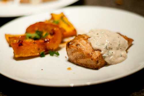 salmon with basil-horseradish sauce and squash with mint leaves and pepitas
