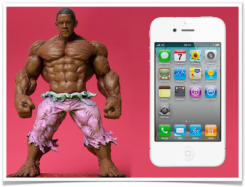 Obama Hulk with iPhone
