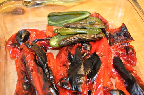 salsa roasted peppers cooling