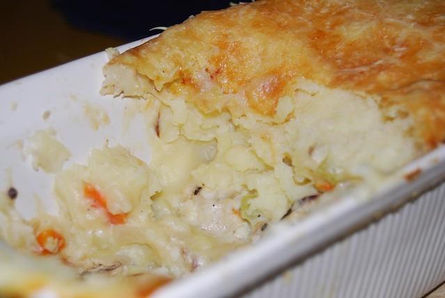 vis onder aardappelpuree