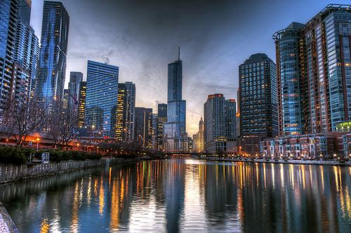 blue light sunset sky sun chicago color tower clouds river nikon trump hdr hdri d700