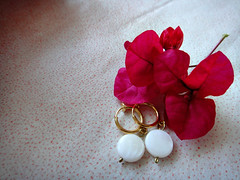 white shell bead circle earrings, gold clip on spring hoops (7lx no. 15)
