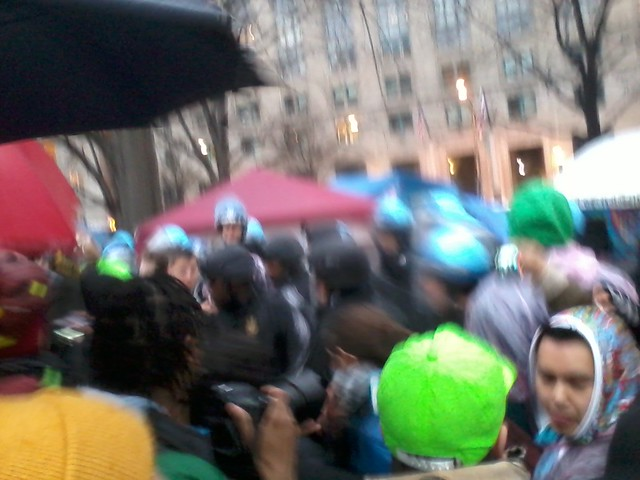 Riot police start beating occupiers with their shields