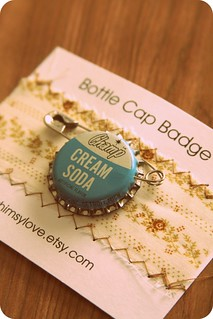 Cream Soda Bottle Cap Badge