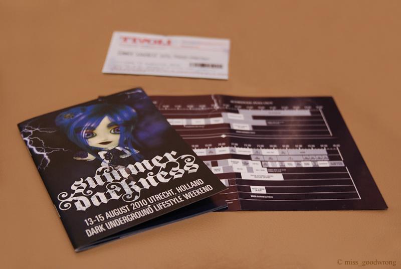 Summer Darkness 2010 Ticket & booklet