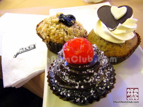 Max's Cupcakes for Valentine's Day: Blueberry Cupcake, Black Forest Cupcake, & Choco Banana Cupcake (left- right))