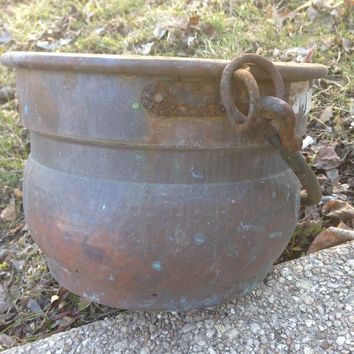 Found in the Melting Snow: Small, Rusy Witch's Cauldron