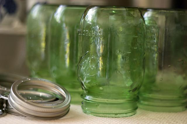Vintage Green Mason Jars