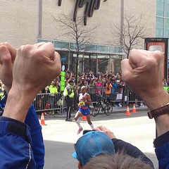The First Man Crossing the finish line! #fistsup #usapower #bostonstrong #boston #bostonmarathon #weruntogether #usa #winning