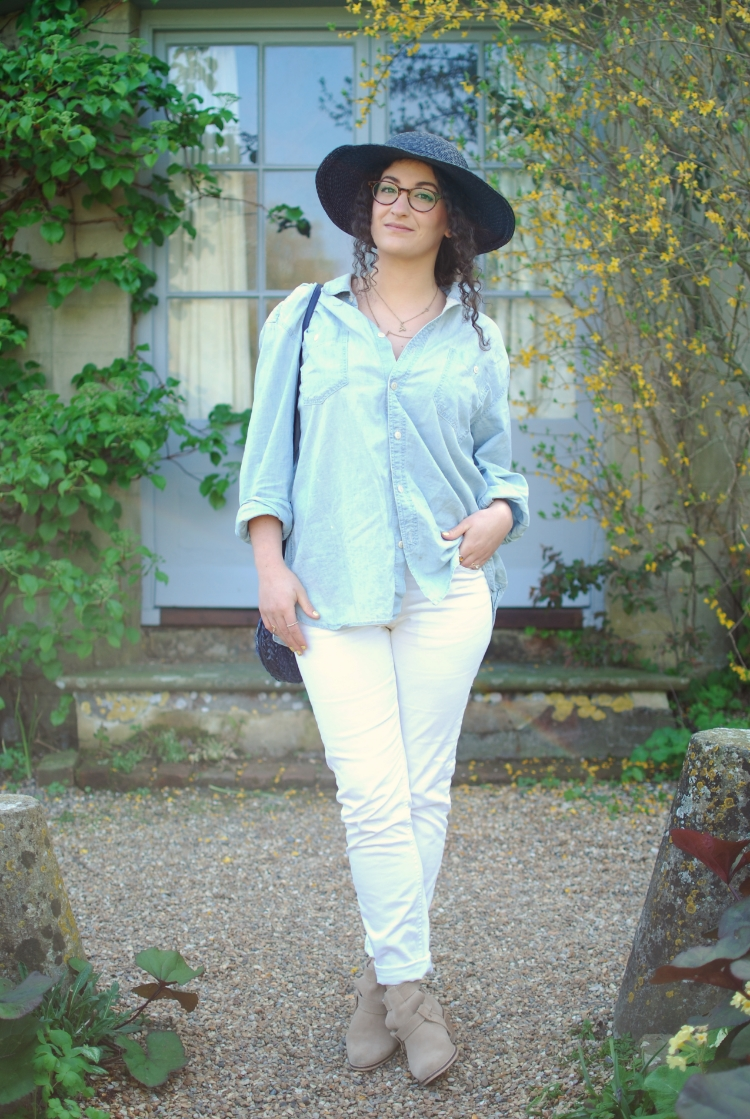 chambray and curls navy straw hat spring style