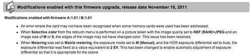 Nikon D5100 firmware update -- A: 1.0.1 _ B:1.01
