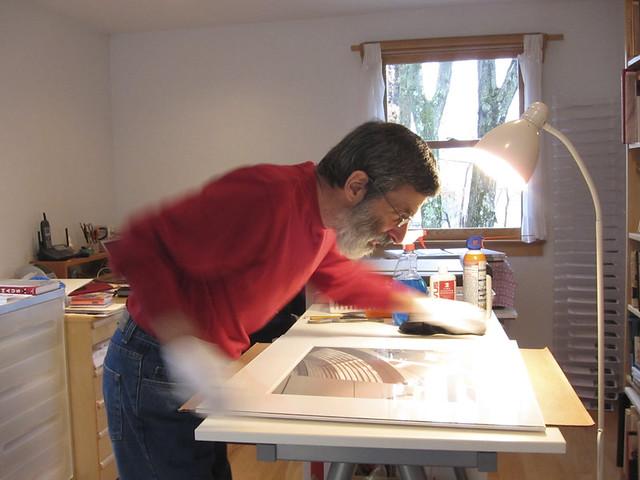 Richard at work framing Getty show