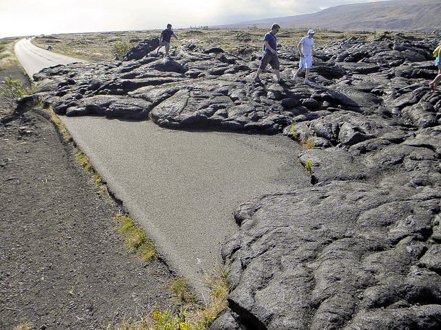 Lava-covered road at Hawaii Volcanoes National Park
