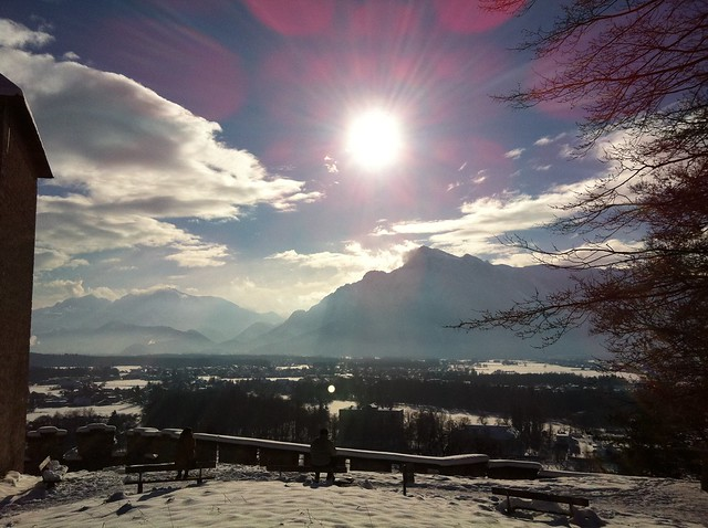 The sun above the Untersberg in winter