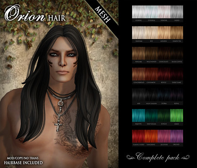 /Wasabi Pills/ Orion MESH Hair - MALE - Complete Pack, 1500 lindens by Cherokeeh Asteria
