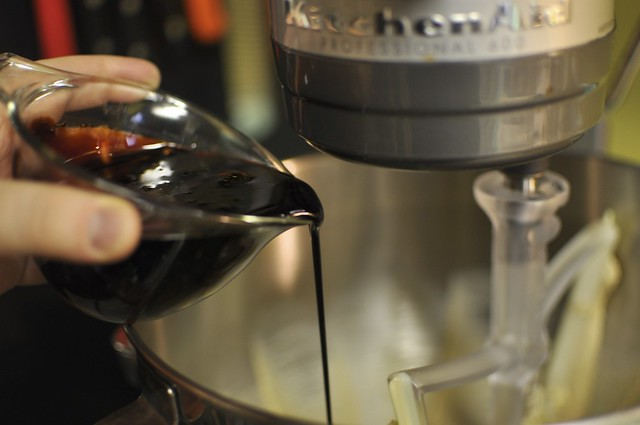 pouring into the mixer