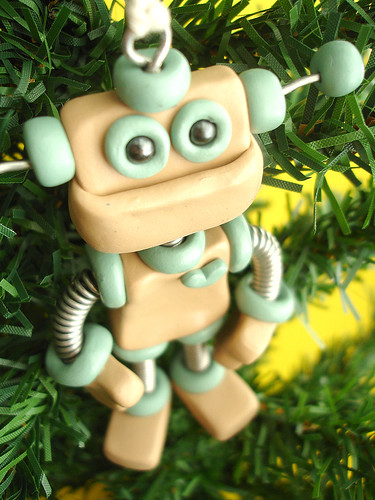 Robot Christmas Ornament | Blue Tan Dan by HerArtSheLoves