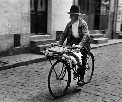France: man on bicycle transporting animal hides (1934)