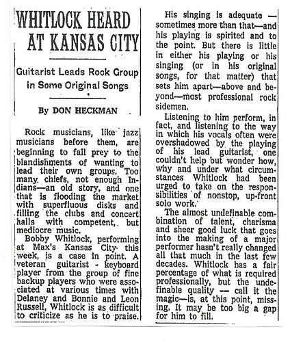 09-15-72 NYT Review - Bobby Whitlock @ Max's Kansas City