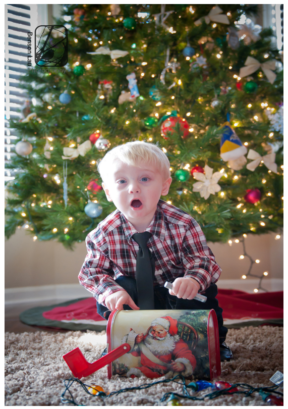 Toddler getting a big surprise in front of his Christmas tree during the holiday family photography session in Belair, Maryland. Taken by Benson Lau Photography.