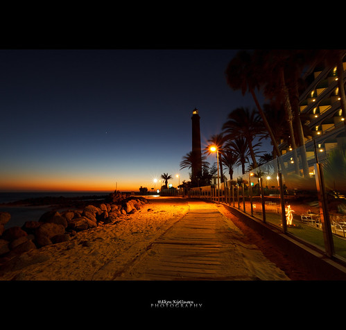 Maspalomas Lighthouse in sunset (Explored) by Håkon Kjøllmoen, Norway