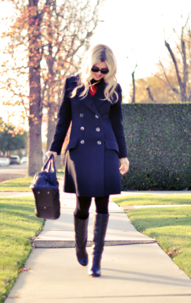 vintage military coat - tights and boots