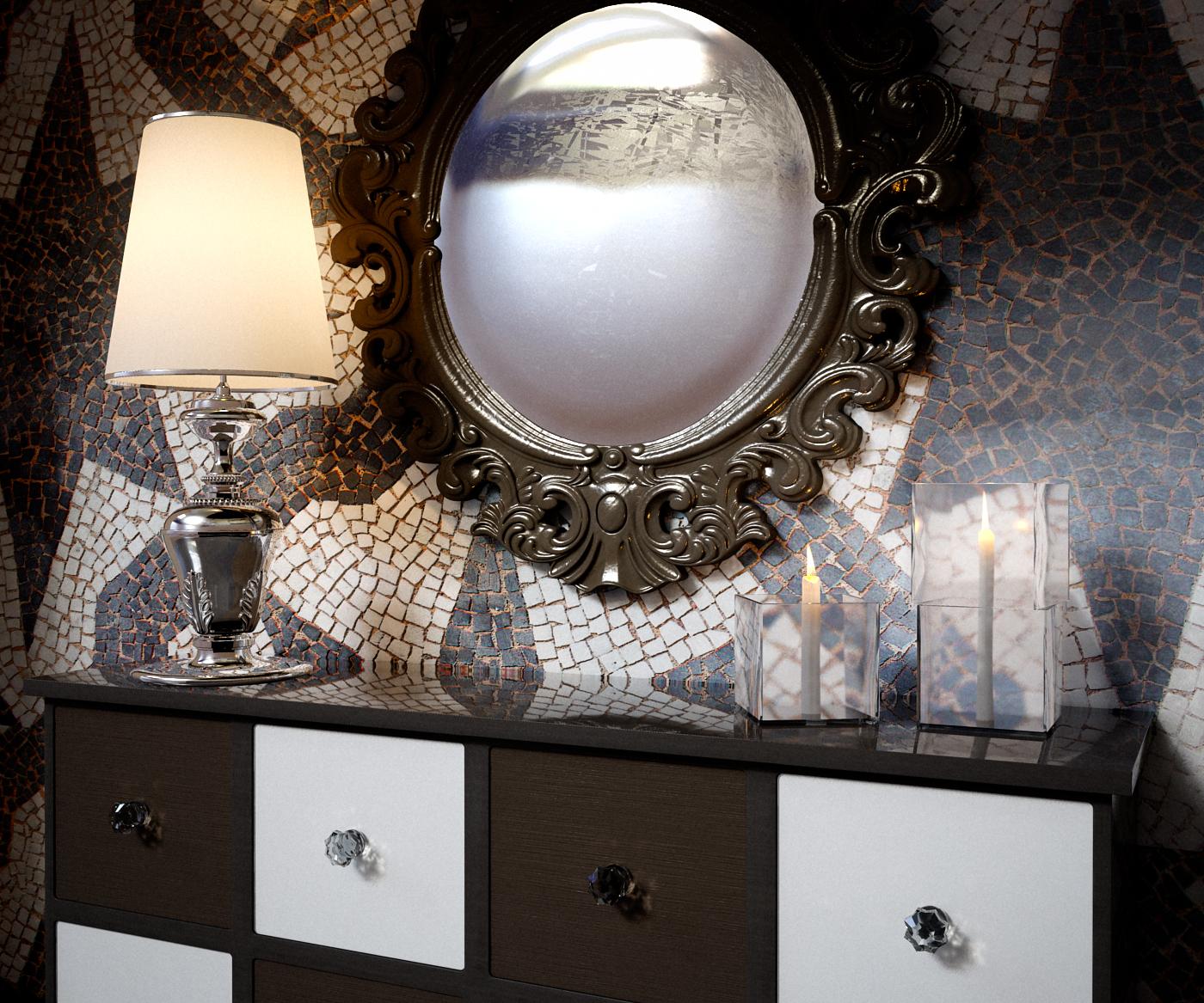 Interior render mental ray: mirror mirror
