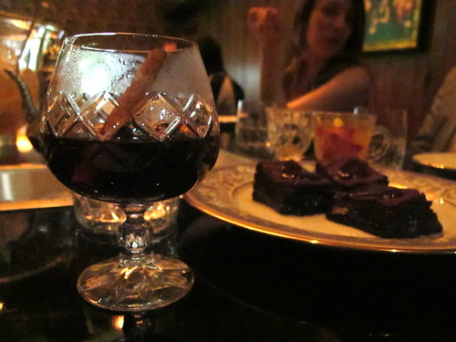 Zacapa hot stone drink, chocolate and chicory brownie