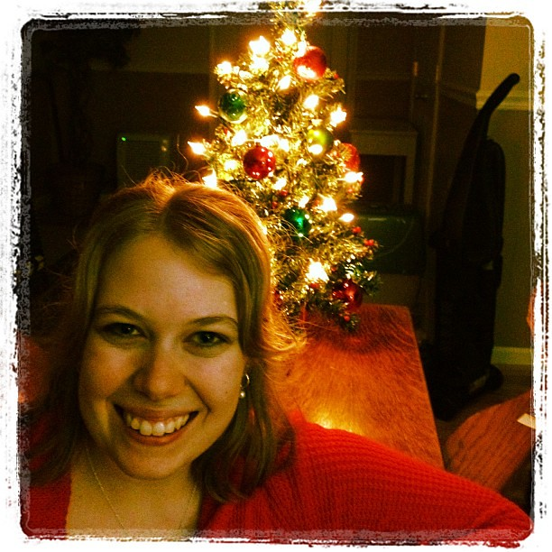 Me with our baby Christmas tree =)