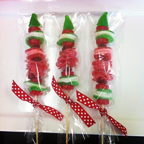 Christmas candy kabobs