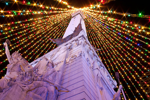 Indy Monument Circle lights